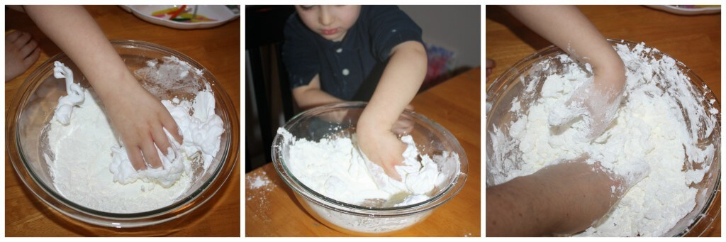 foam dough sensory play mixing