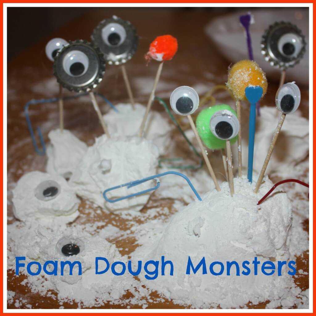foam dough sensory play monsters
