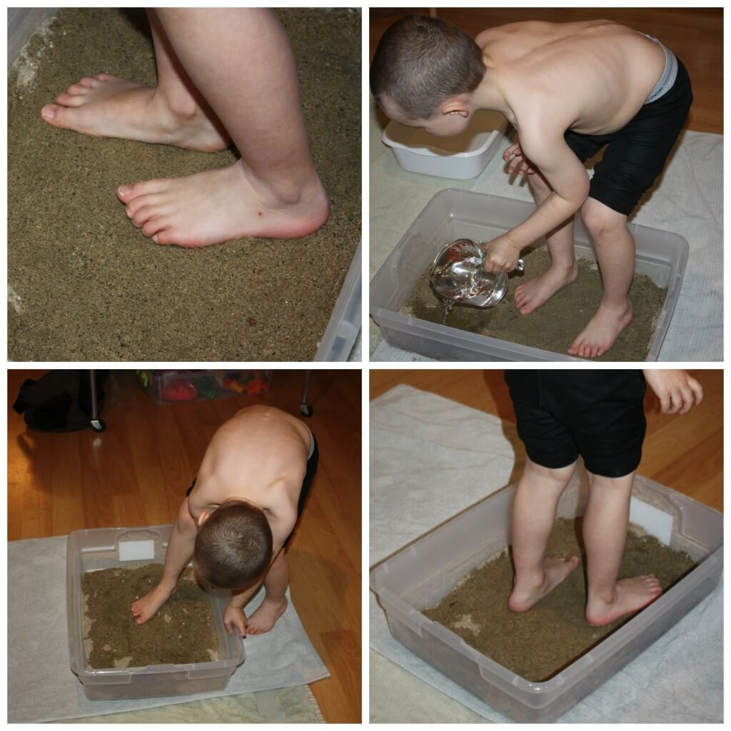 foot sensory play with sand