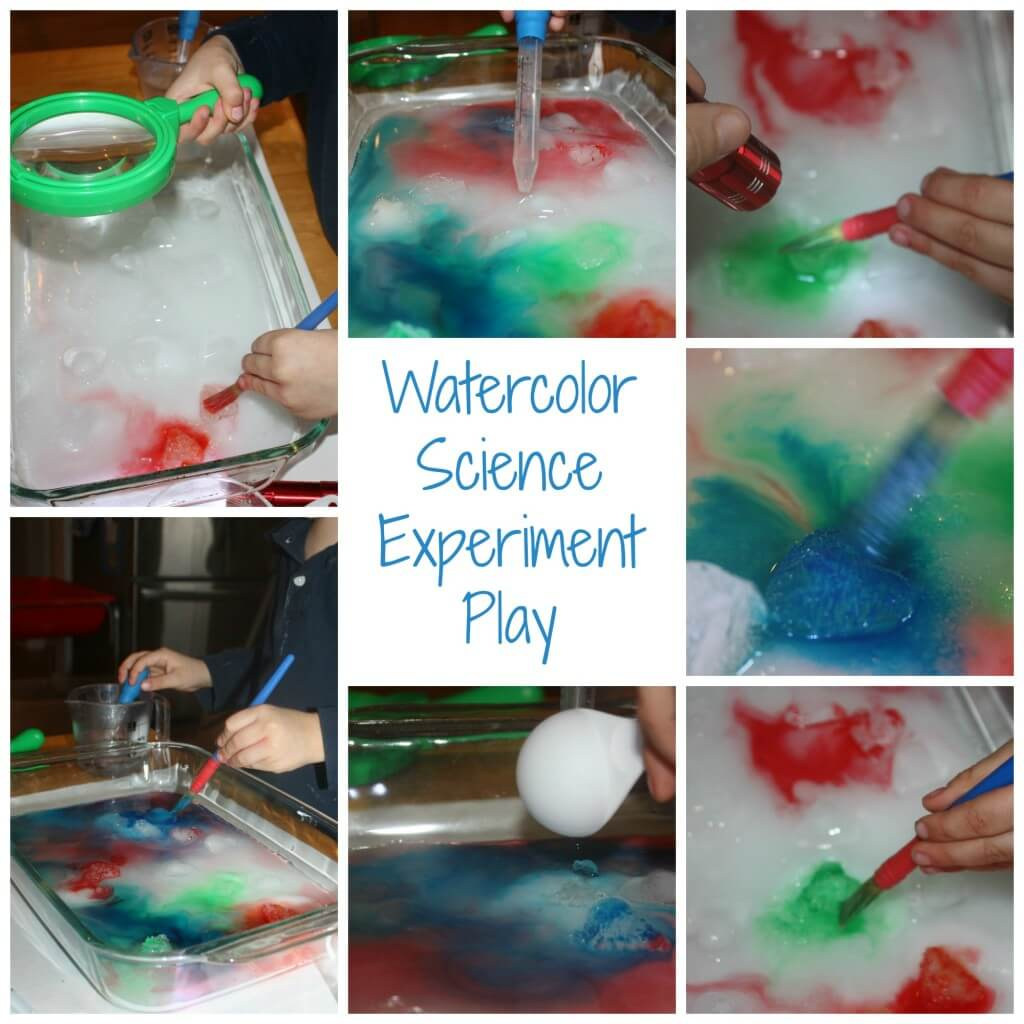 heart ice science experiment watercolor paint