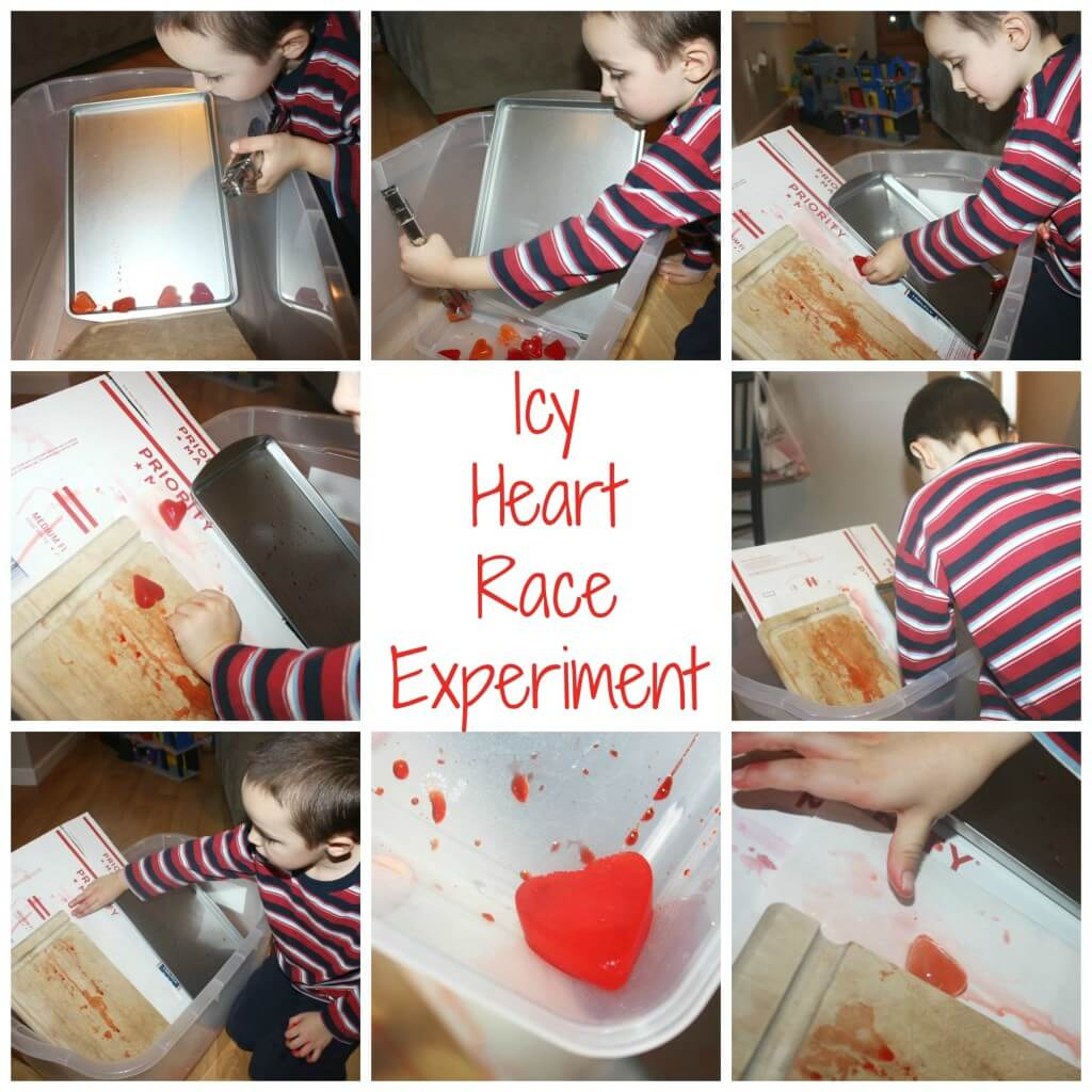heart ice slide experiment play