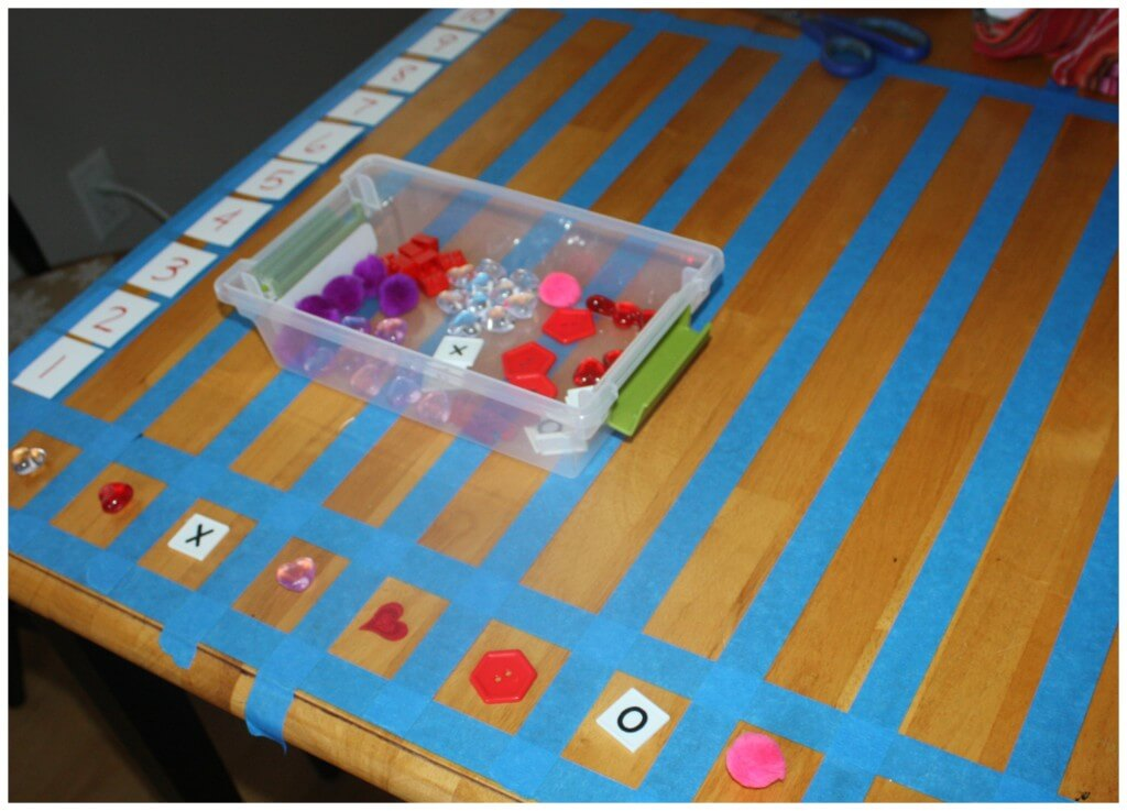 valentine early learning graphing set up