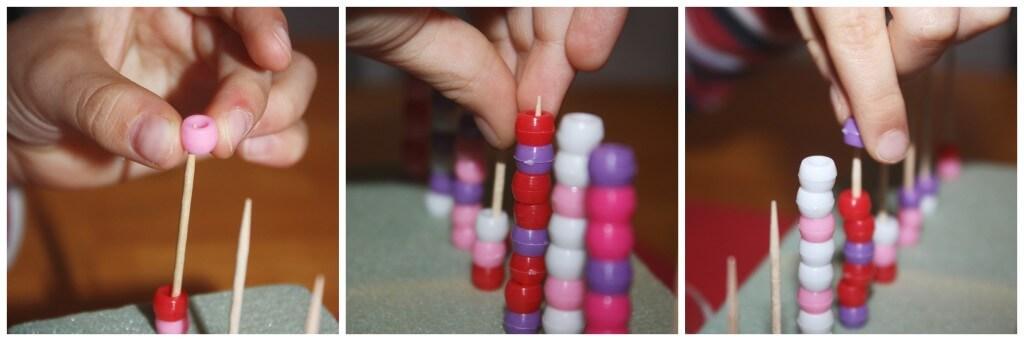 valentine fine motor bead pattern work