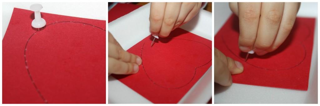 valentine fine motor thumb tack heart