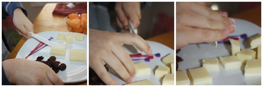valentines snack making cheese slicing