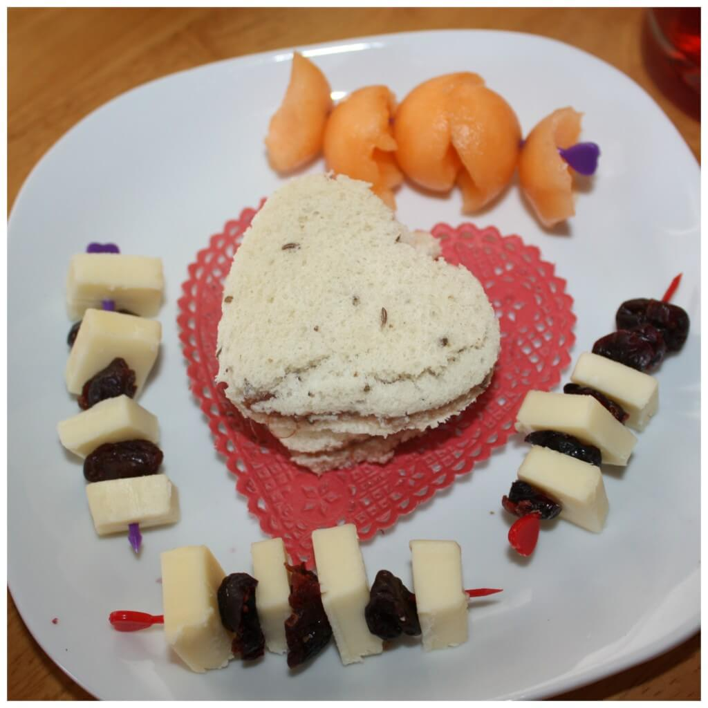 valentines snack making finished plate