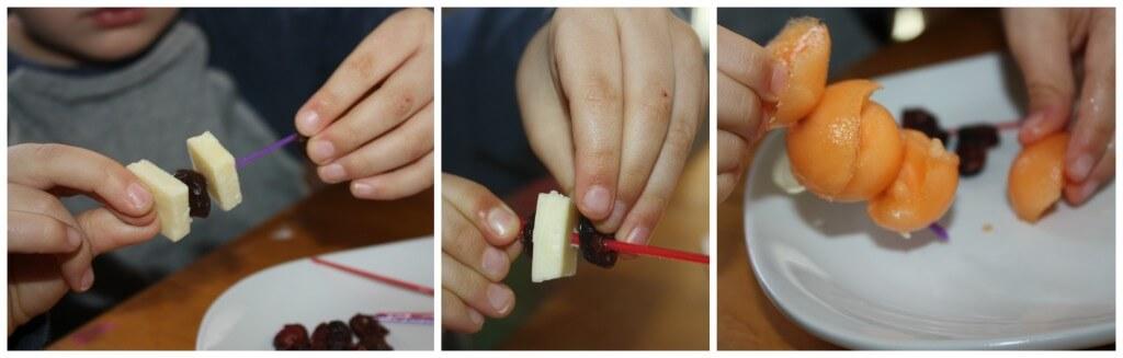 valentines snack making skewering