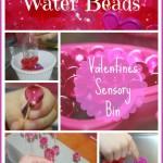 water beads valentines sensory bin
