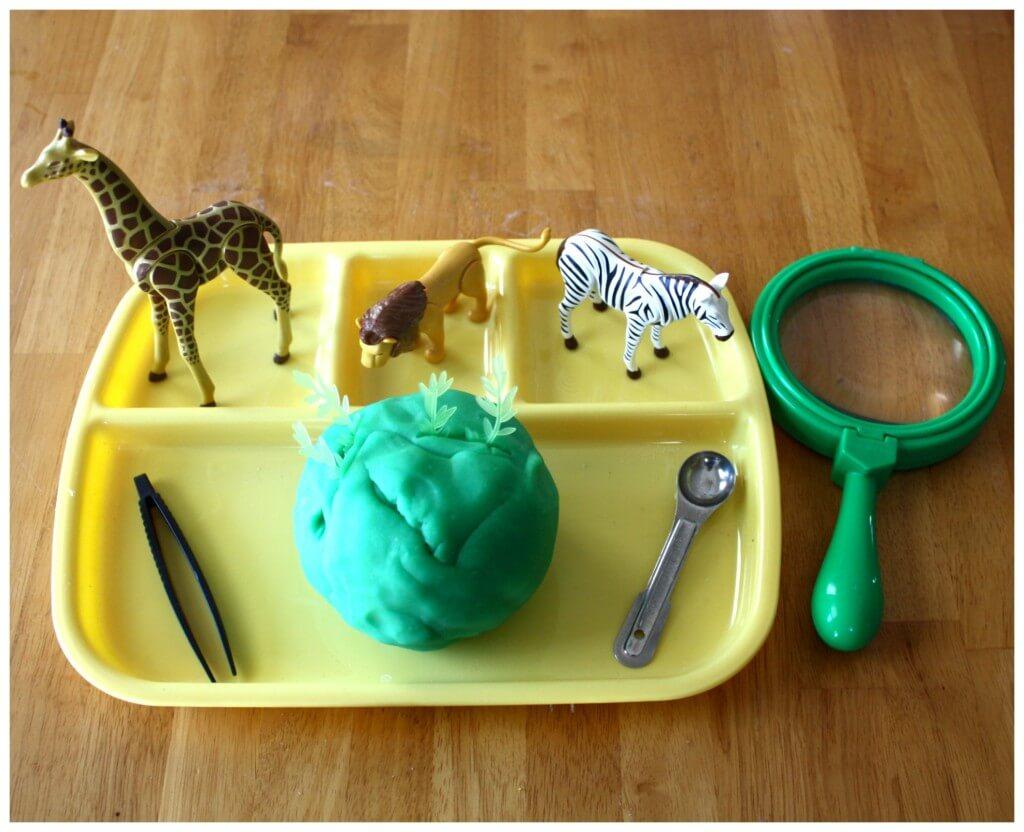 zoo fine motor play dough set up