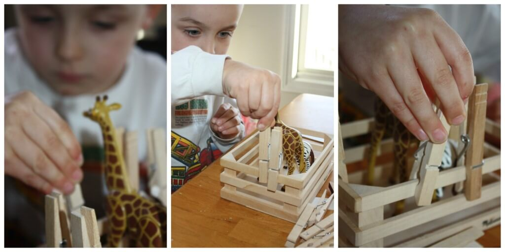 zoo fine motor skills fence building clothespins
