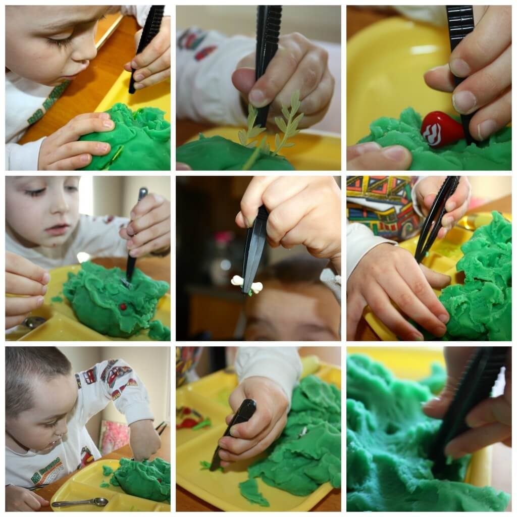 zoo themed fine motor skills tweezer work