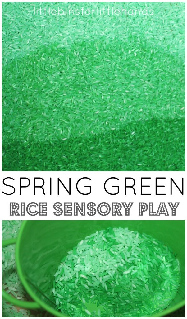 Green Colored Rice Sensory Bin Spring Sensory Play