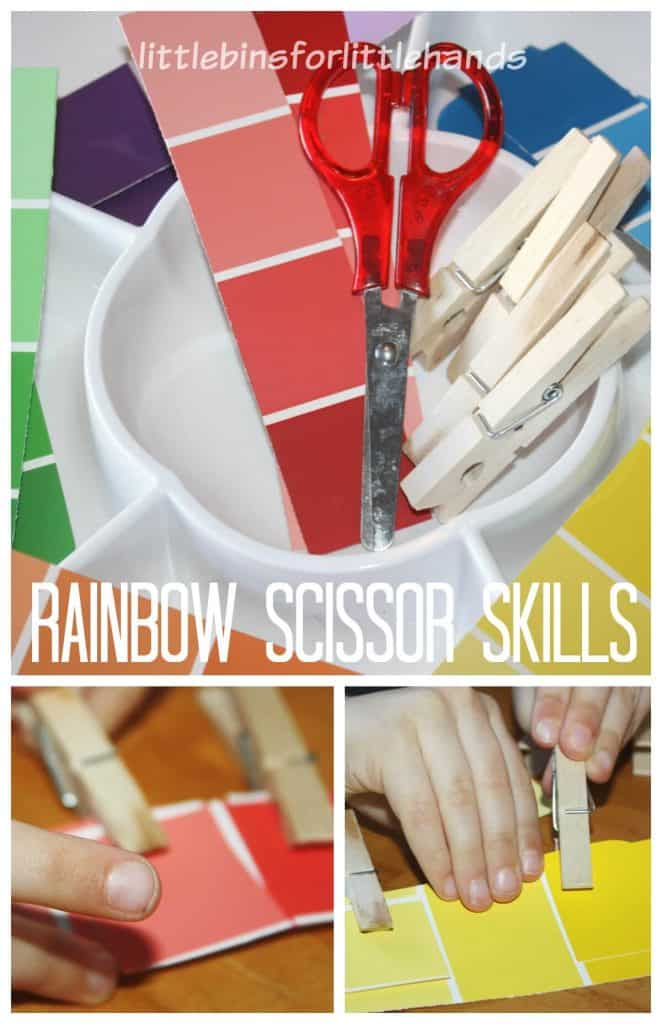 Rainbow Scissor Skills Activity Cutting Paper Matching Colors