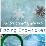 Snowflake baking soda science winter sensory science activity