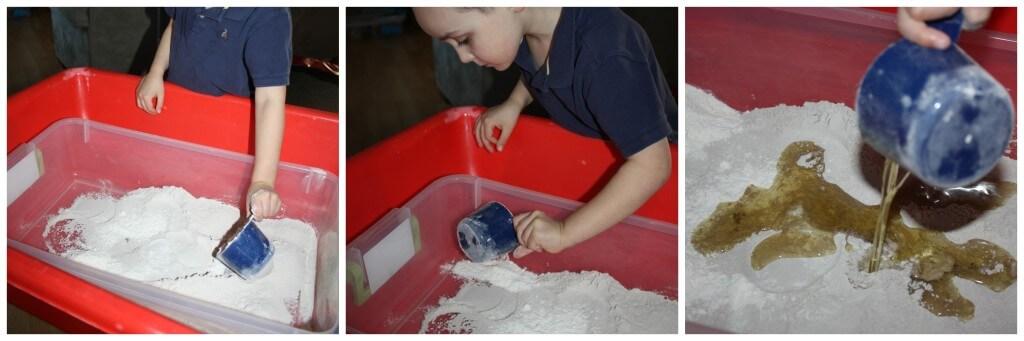 cloud dough adding ingredients