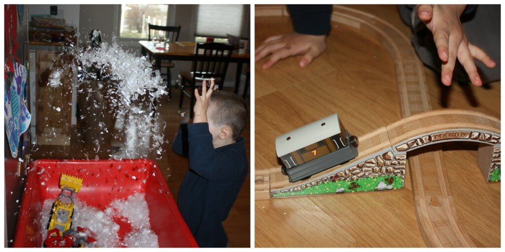 gravity science experiment snowy train