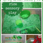 green colored rice sensory bin