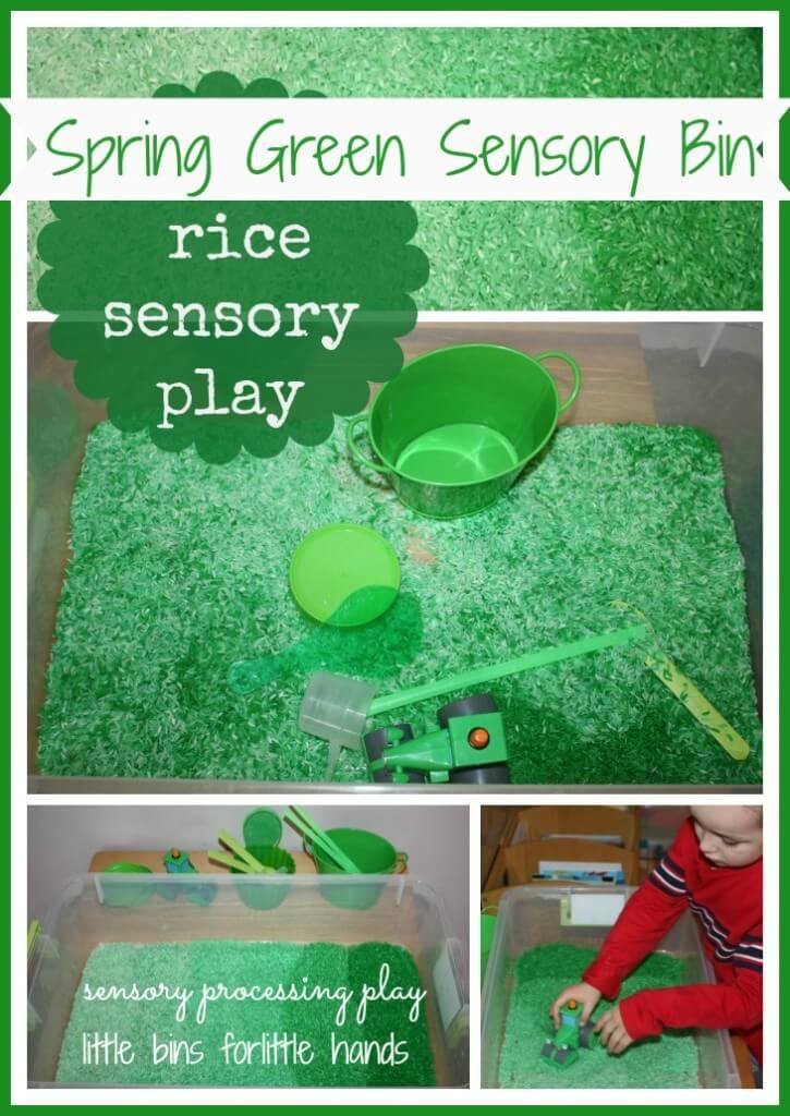 green colored rice sensory bin