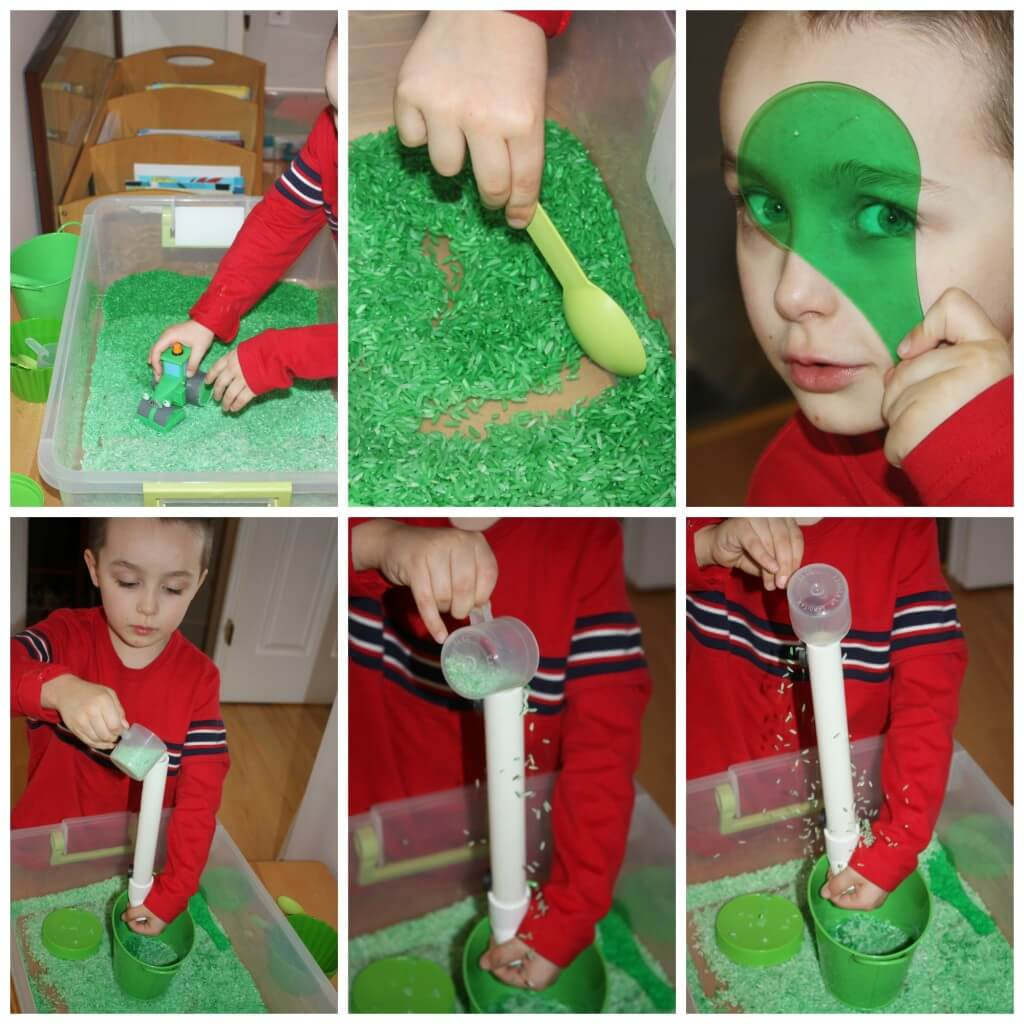 green rice sensory bin play
