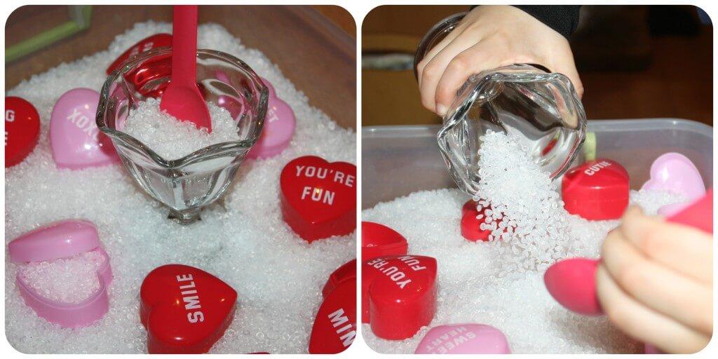 heart containers sensory bin 1