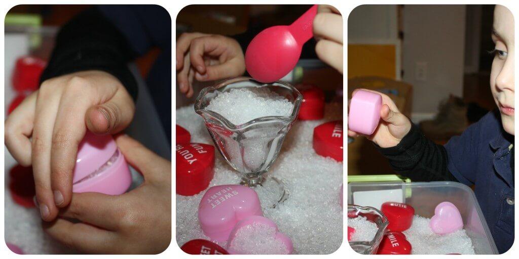 heart containers sensory bin 3
