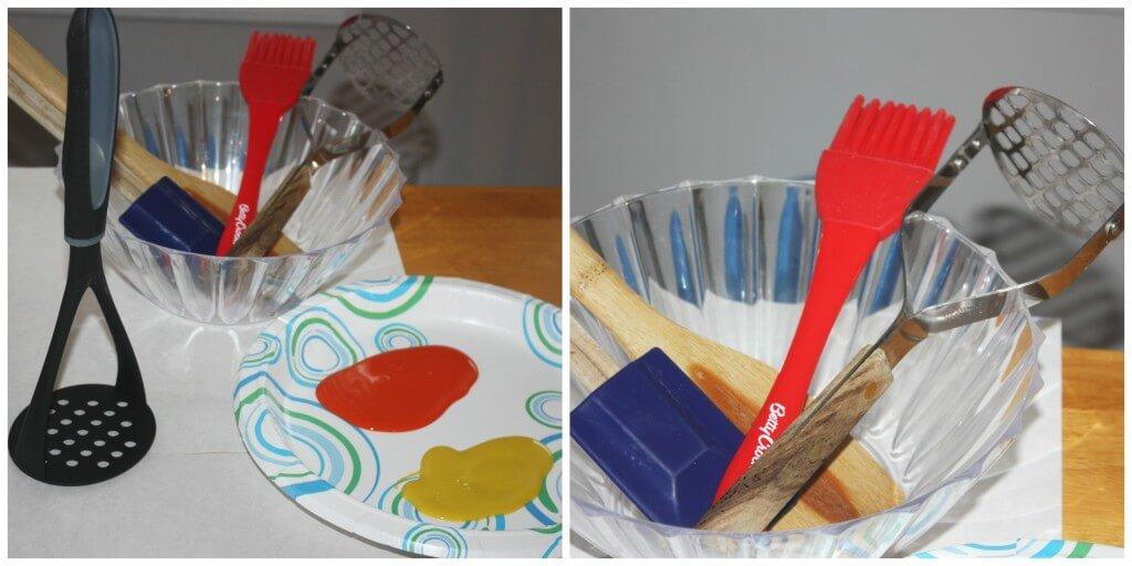 kitchen utensil painting set up