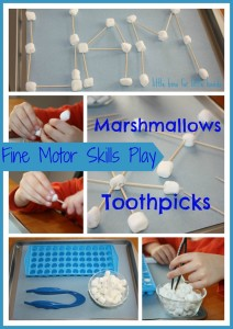 marshmallows and toothpicks fine motor skills activity