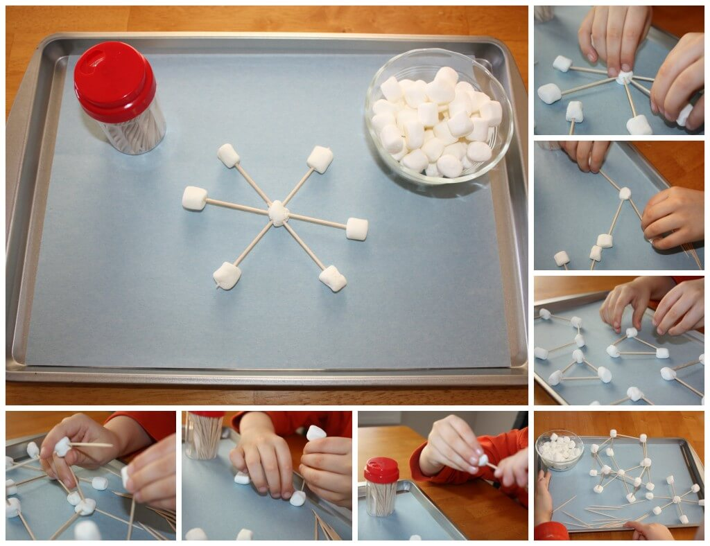marshmallows and toothpicks fine motor skills play