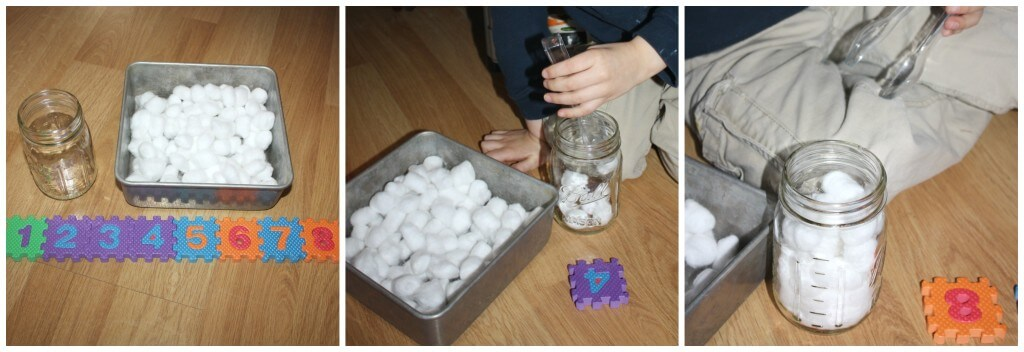 math sensory play cotton ball counting