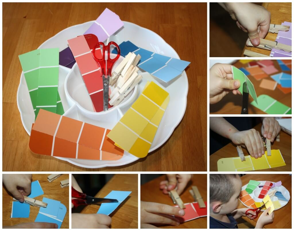 rainbow scissor skills and matching  fine motor work