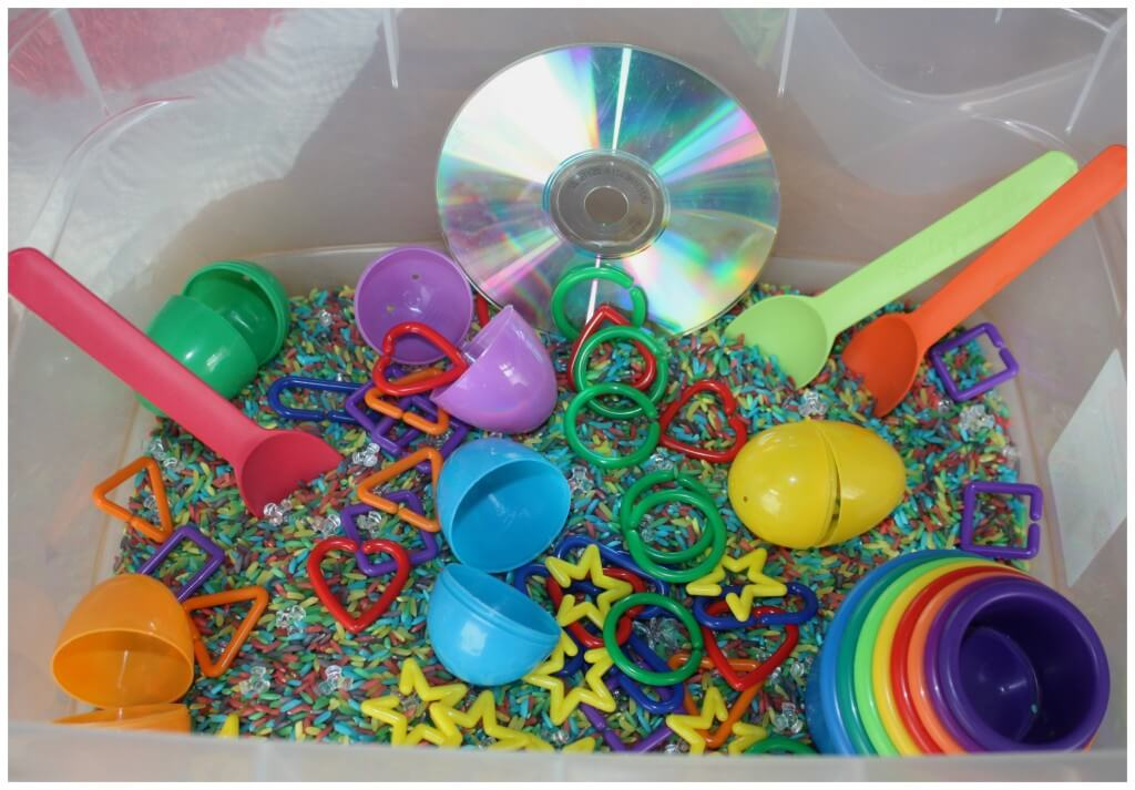 rainbow sensory bin activity set up