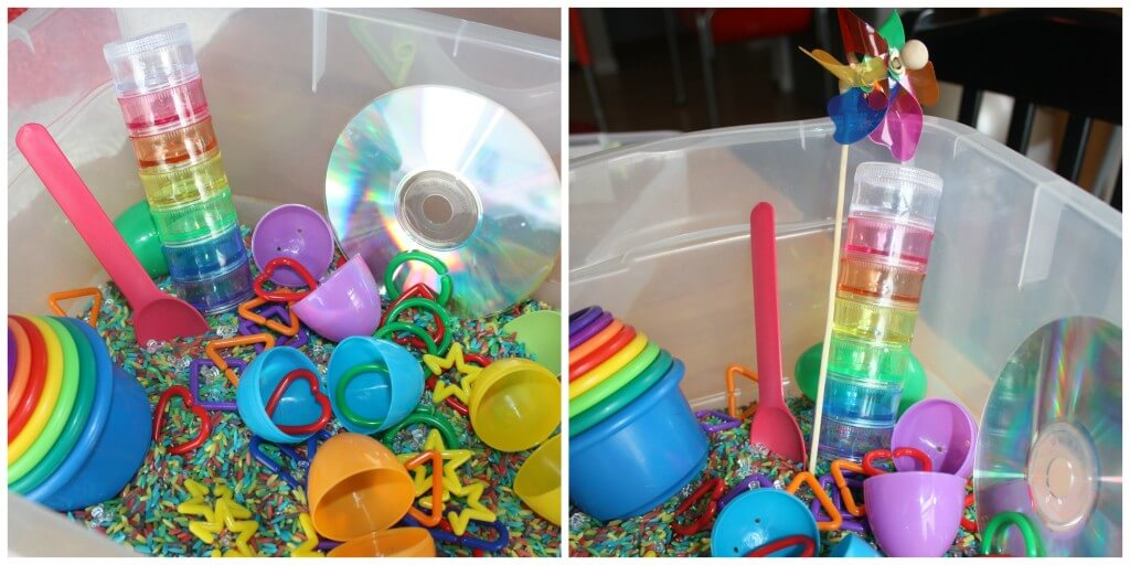 rainbow sensory bin activity set up 2