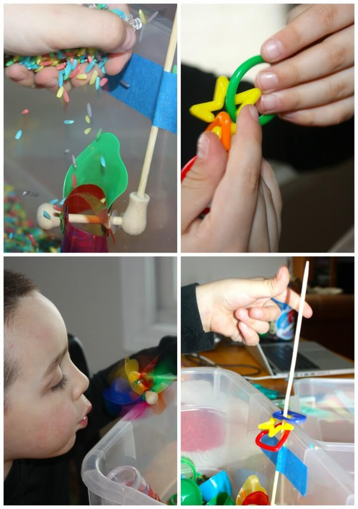 rainbow sensory bin exploring play