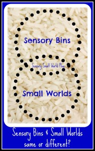 sensory bins and small worlds same or different