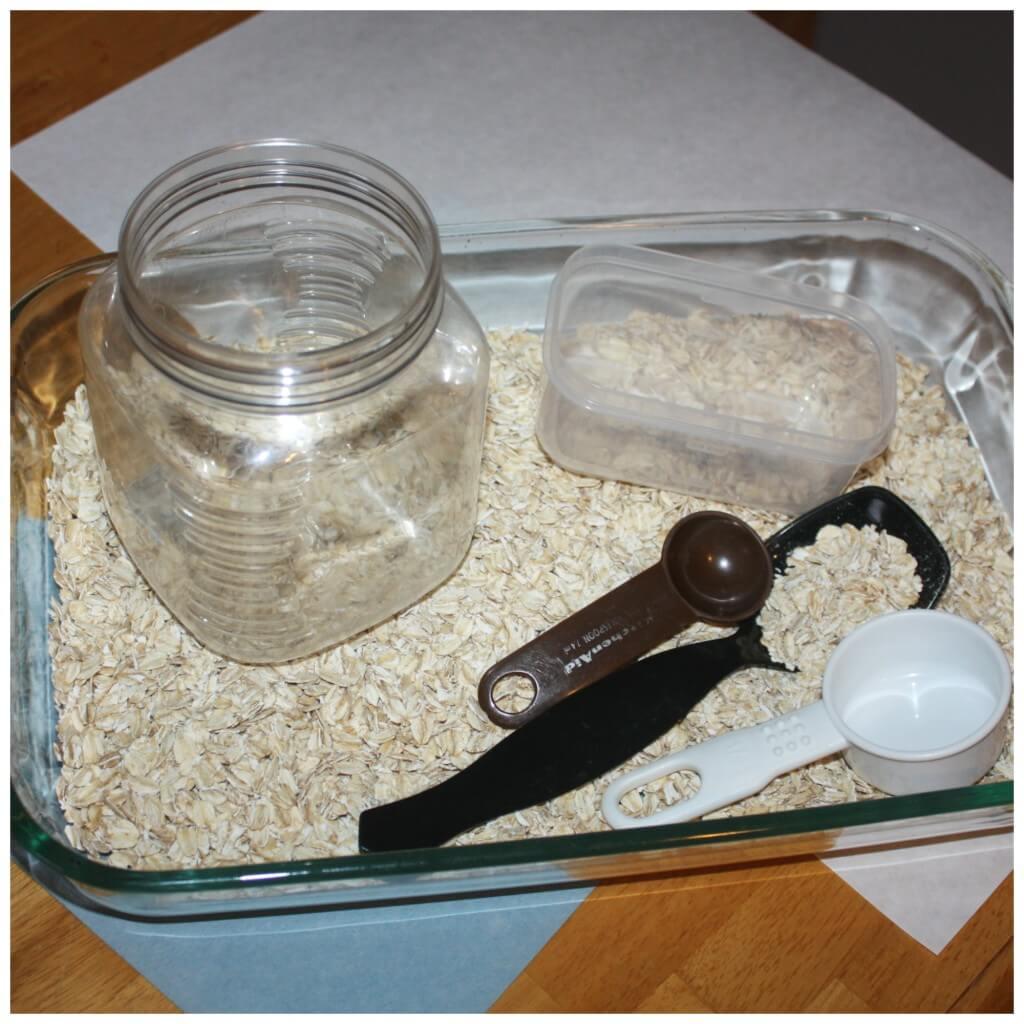 snow day kitchen sensory bin