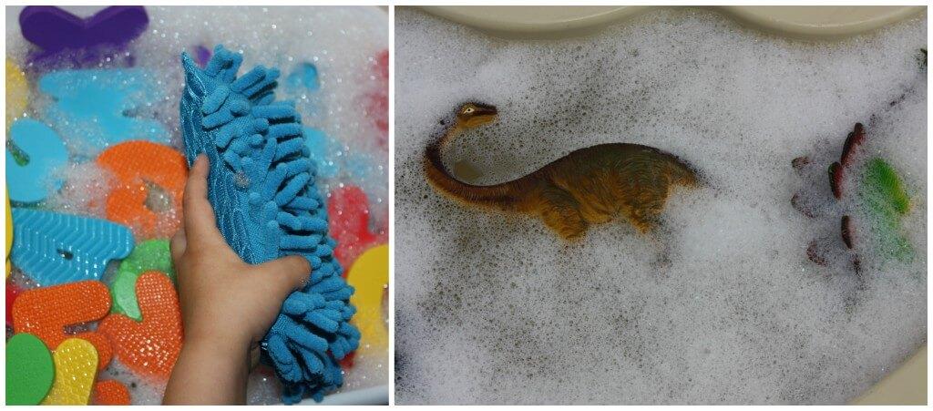 snow day washing sensory bin