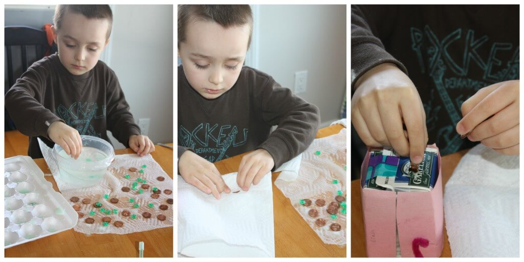 st patricks baking soda activity cleaning coins