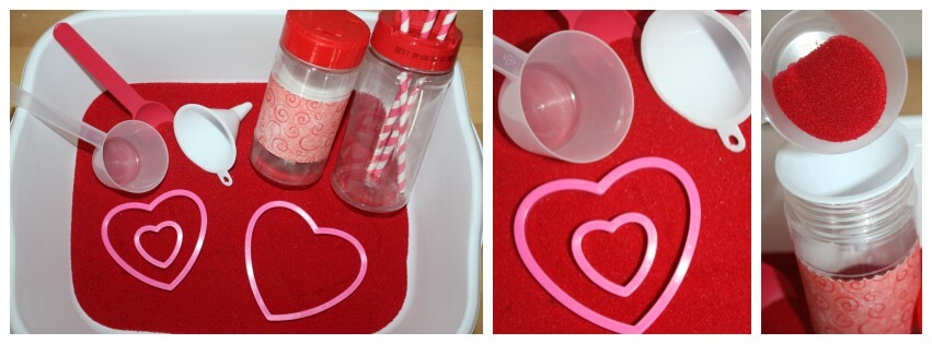 valentines day sensory bin craft sand