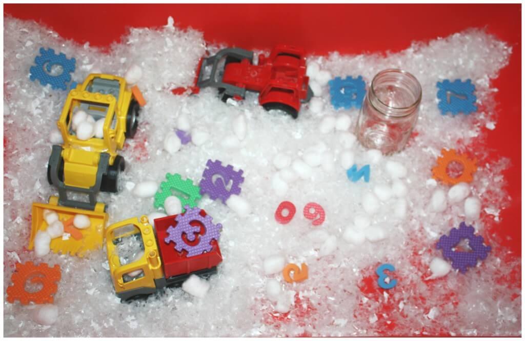 winter math sensory bin set up