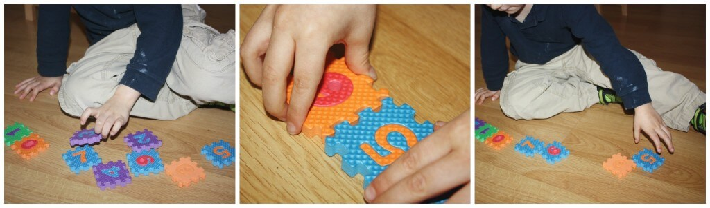 winter math sensory play connecting puzzle pieces
