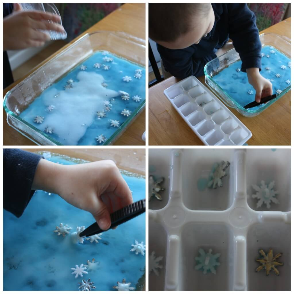 winter snowflake baking soda science fine motor