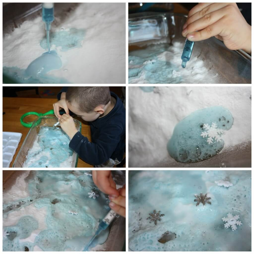 winter snowflake baking soda science playing