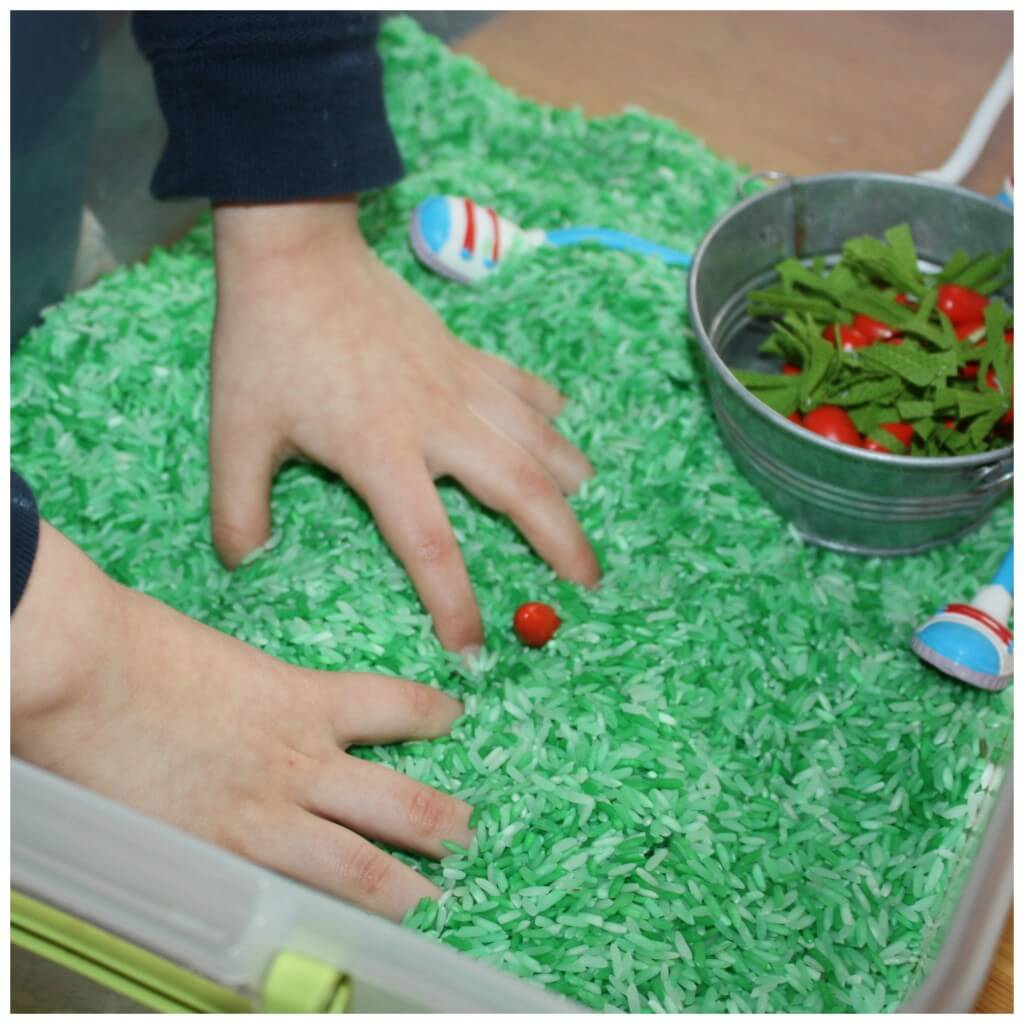 Bunny Carrots Sensory Bin Search Hand Searching