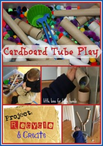 Cardboard Tube Recycle Sensory Bin & Ball Run Activity
