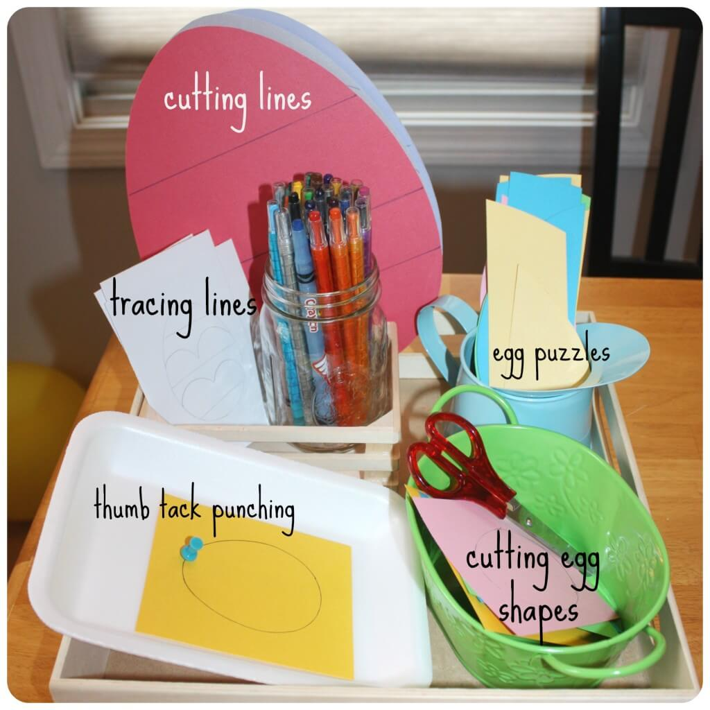Easter Egg Fine Motor Activities Tray
