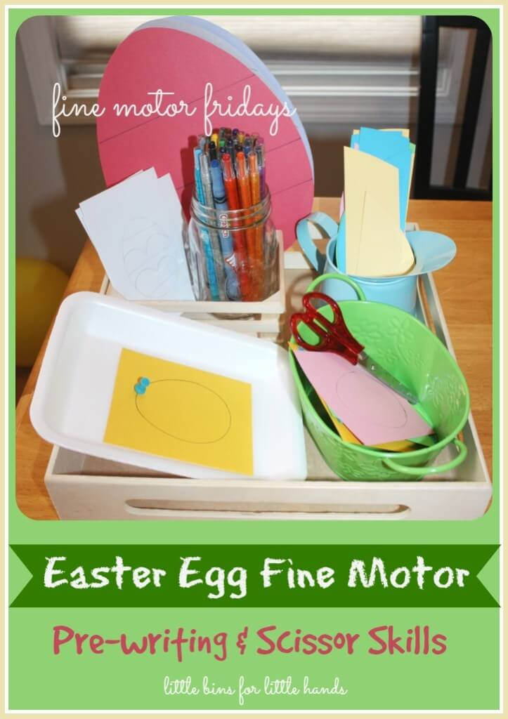 Easter egg fine motor activities for preschool kids age 3-6. Practice fine motor skills with this easy to set up Easter activity for kids. This fine motor activity tray includes cutting, tracing, punching, coloring, and more!