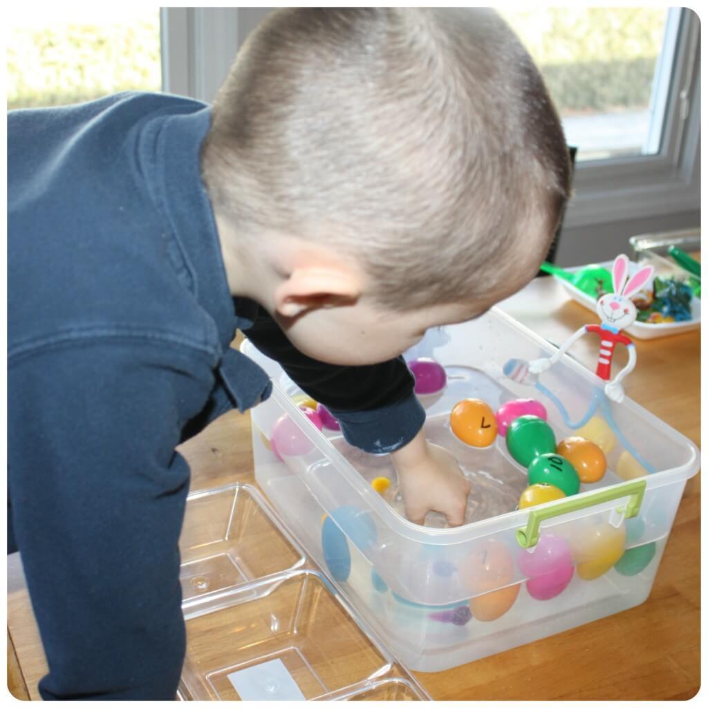 Easter Egg Science Sink Looking in Water