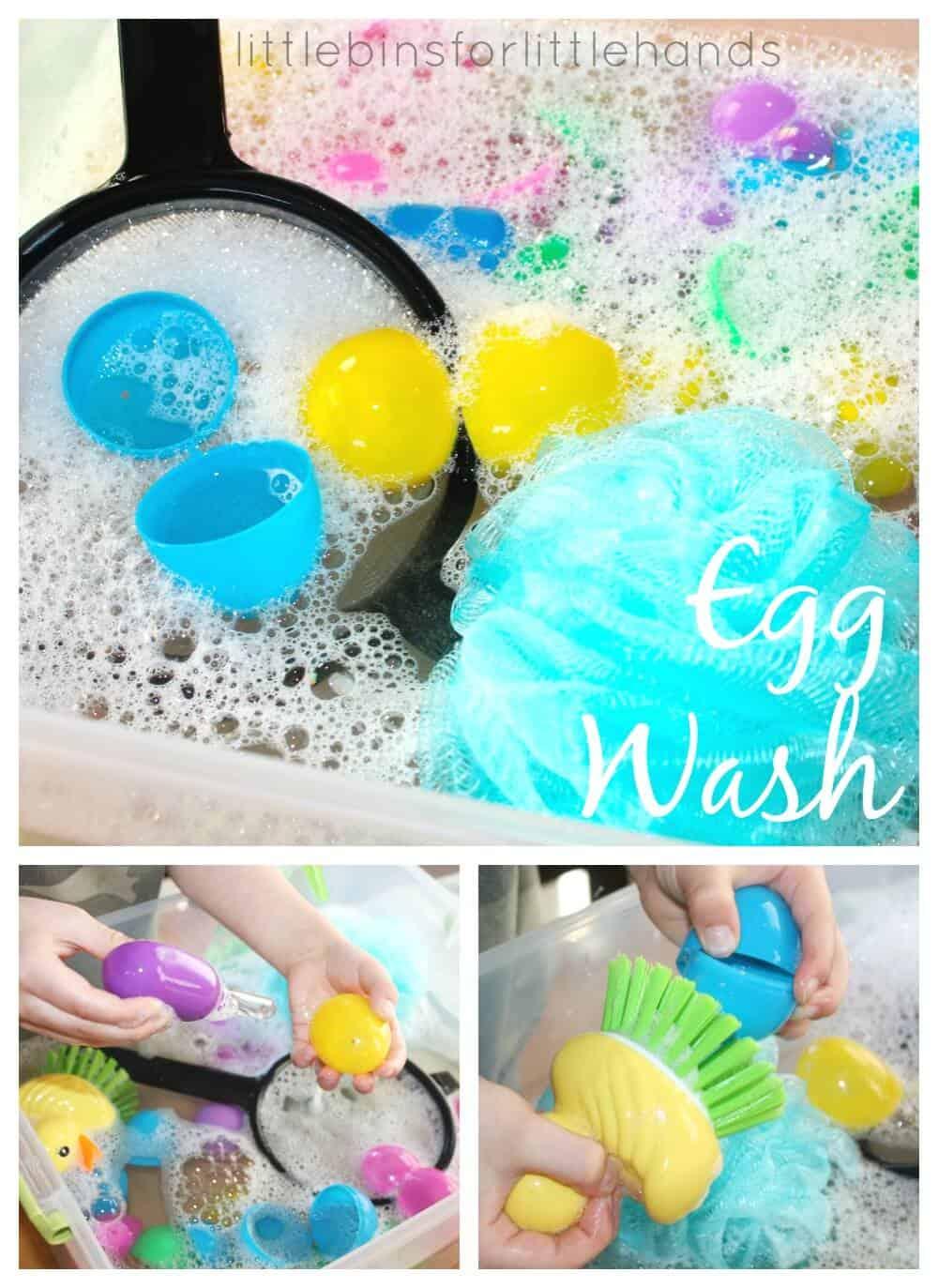 Easter Egg Wash Water Sensory Play