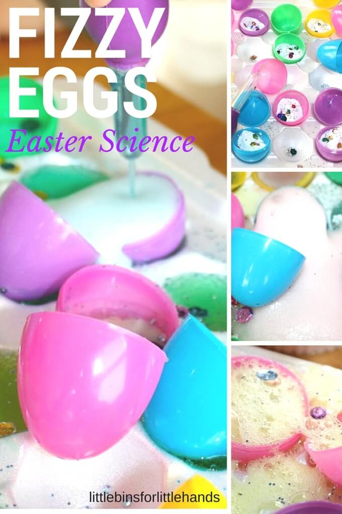 Easter baking soda science with fizzy eggs activity