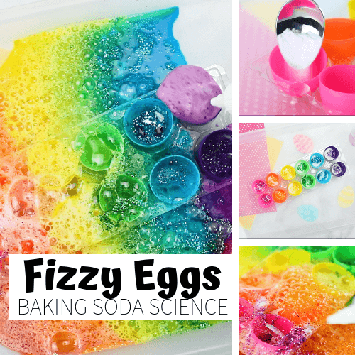 Baking soda and vinegar rainbow Easter eggs activity.